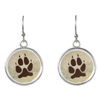 Wolf Paw Print Earrings