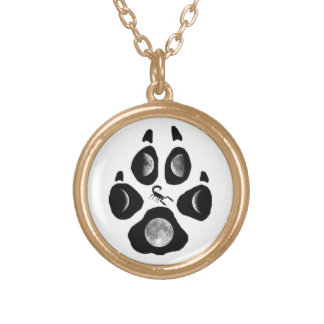 Wolf paw print gold plated necklace