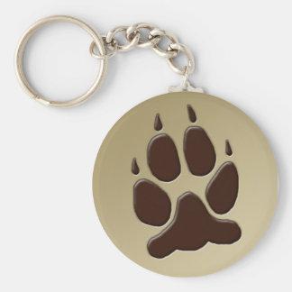 Wolf Paw Print Key Ring