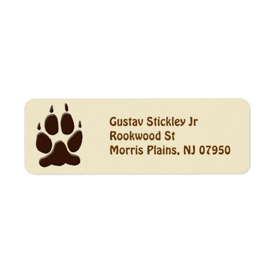 Wolf Paw Print Return Address Label