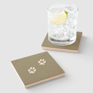Wolf paw stone beverage coaster