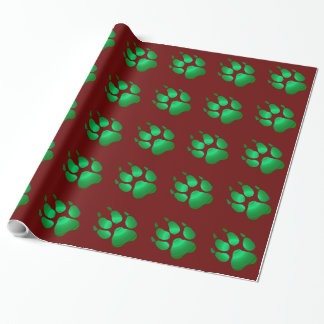 Wolf pawprint wrapping paper