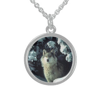 Wolf Peeking from Trees Necklace