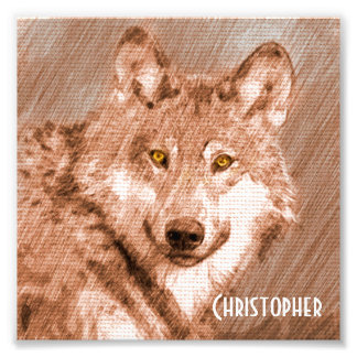 Wolf Pencil Sketch Image Personalize Photograph