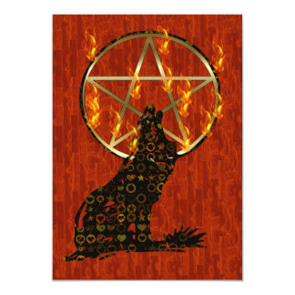 Wolf Pentagram 13 Cm X 18 Cm Invitation Card