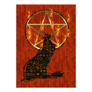 Wolf Pentagram Personalized Announcements