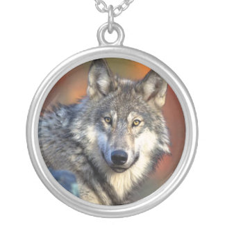 Wolf Photograph Silver Plated Necklace