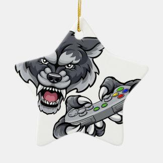 Wolf Player Gamer Mascot Christmas Ornament