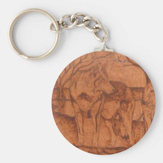wolf.PNG Wolf Wood Burning Basic Round Button Key Ring