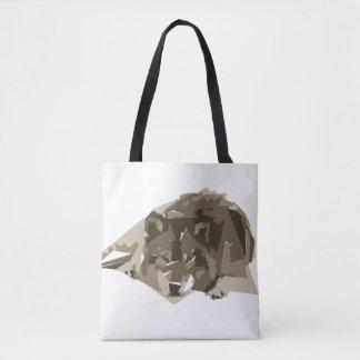 Wolf polygon art illustration tote bag