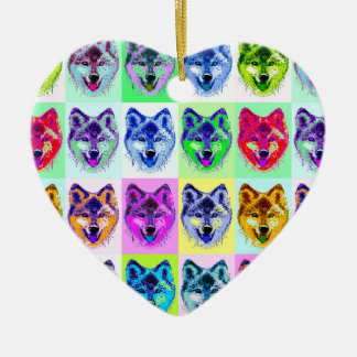 Wolf Pop Art Ceramic Heart Decoration