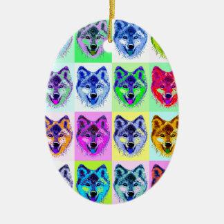 Wolf Pop Art Christmas Tree Ornaments