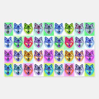Wolf Pop Art Rectangular Sticker