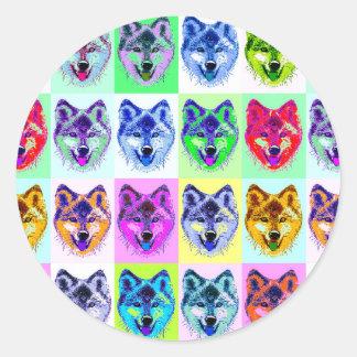 Wolf Pop Art Round Sticker