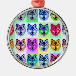 Wolf Pop Art Silver-Colored Round Decoration
