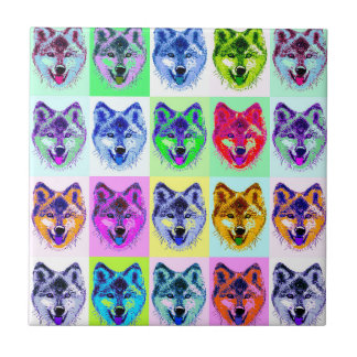 Wolf Pop Art Small Square Tile