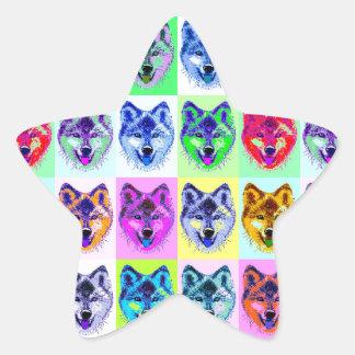 Wolf Pop Art Star Sticker