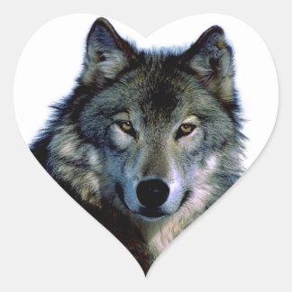 Wolf Portrait Heart Sticker