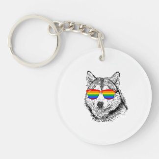 Wolf Pride Sunglasses Double-Sided Round Acrylic Key Ring
