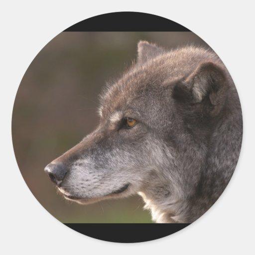 Wolf Profile Round Stickers