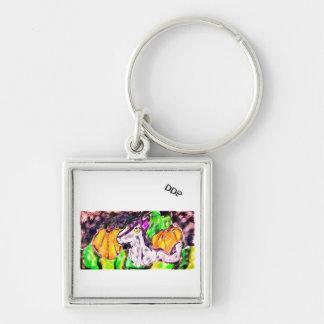 wolf pumpkins art key ring