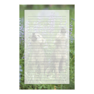 Wolf Puppies Howling In Meadow Stationery Design