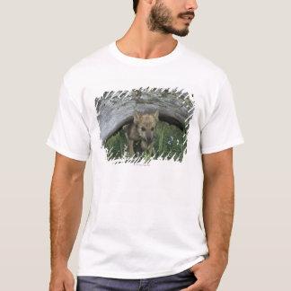 Wolf Puppy Going Under Log T-Shirt