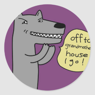 Wolf (purple) round stickers