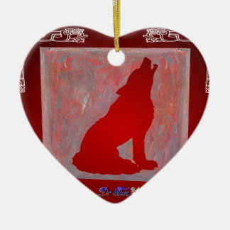 WOLF RED CUSTOMIZABLE PRODUCTS CERAMIC HEART DECORATION