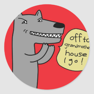 Wolf (red) round sticker