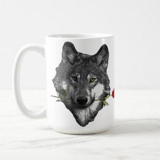 Wolf Rose Basic White Mug