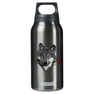 Wolf Rose Insulated Water Bottle