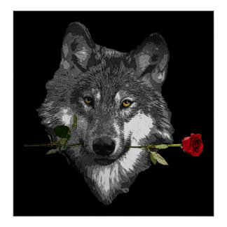 Wolf Rose Poster