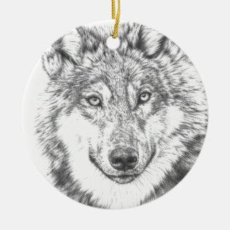Wolf Round Ceramic Decoration