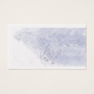 Wolf running Watercolour ghost blue Business Card