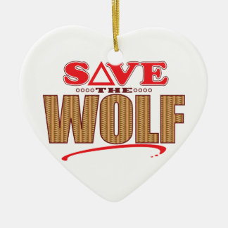 Wolf Save Ceramic Heart Decoration