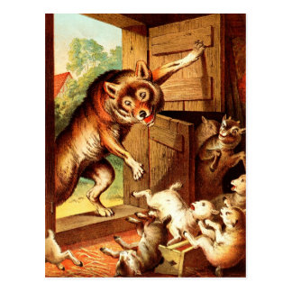 Wolf & Seven Young Kids ~ Fairy Tale Art Painting Postcard