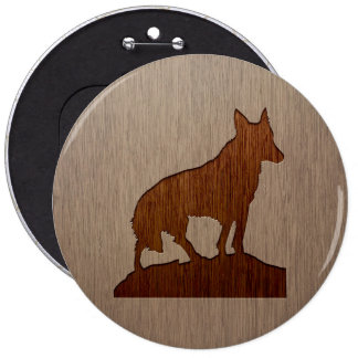 Wolf silhouette engraved on wood design 6 cm round badge