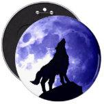 Wolf Silhouette & Full Moon 6 Cm Round Badge