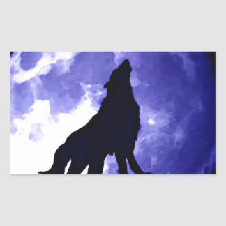 Wolf Silhouette Full Moon Stickers