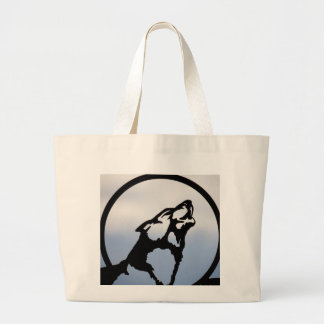 Wolf silhouette large tote bag