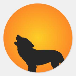 Wolf Silhouette Round Sticker