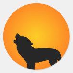 Wolf Silhouette Round Stickers
