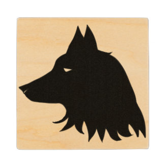 Wolf Silhouette Wood Coaster