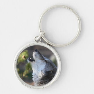 wolf Silver-Colored round key ring