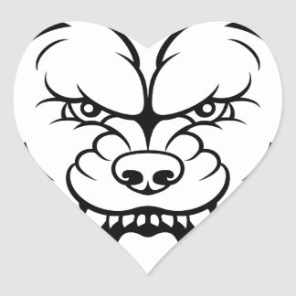 Wolf Sports Mascot Angry Face Heart Sticker