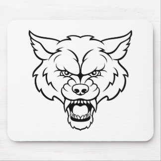 Wolf Sports Mascot Angry Face Mouse Mat