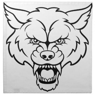 Wolf Sports Mascot Angry Face Napkin