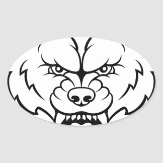Wolf Sports Mascot Angry Face Oval Sticker