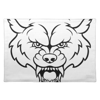 Wolf Sports Mascot Angry Face Placemat